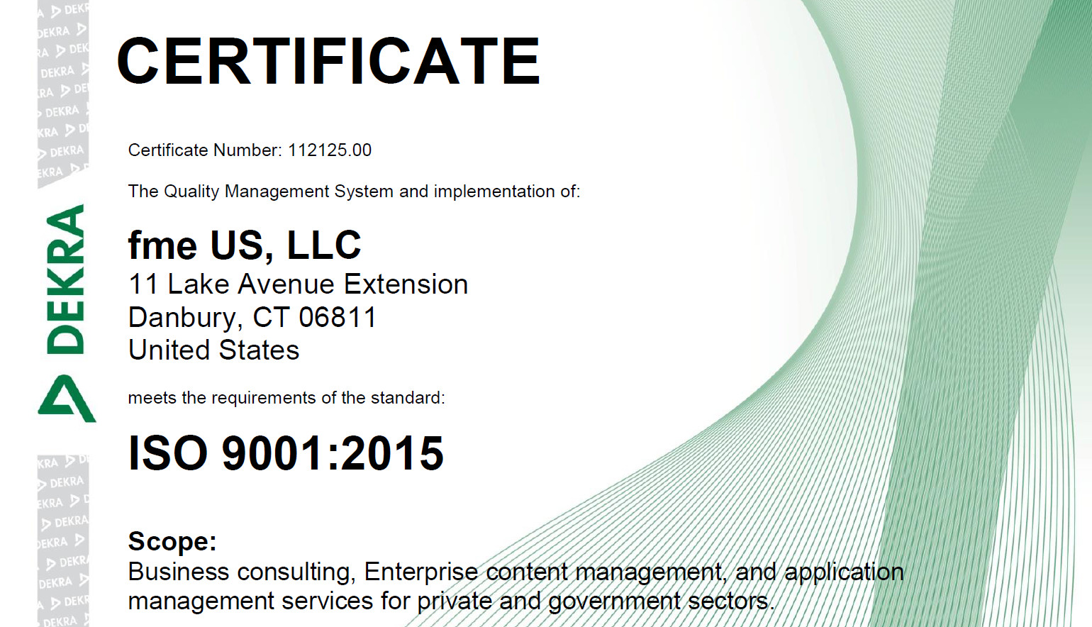Certificate for ISO 9001 fme US